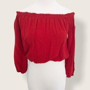 Brandy Melville Red Off the Shoulder Crop Top - OS